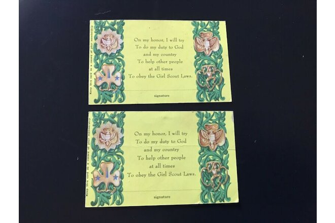 (2) - Vintage Girl Scout Cards Ephemera  ~ Cincinnati Certificate of Membership