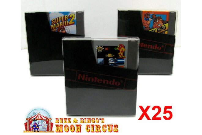 25x NINTENDO NES GAME CARTRIDGE - CLEAR PROTECTIVE BOX PROTECTOR SLEEVE CASE