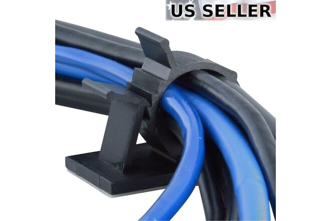 "25x Cable Clips Adhesive Cord Management Organizer Wire Holder 0.85"" Clamp Black"