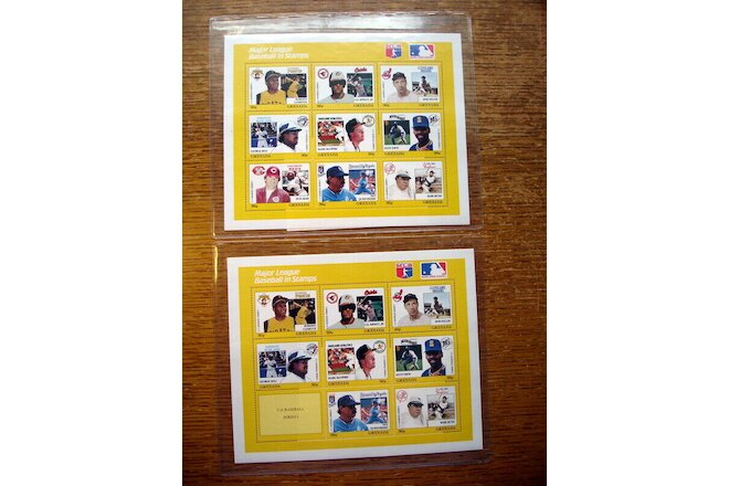 Lot 2 Mint Sheets MLB Baseball Player Stamps with & w/o Pete Rose - Grenada 1988