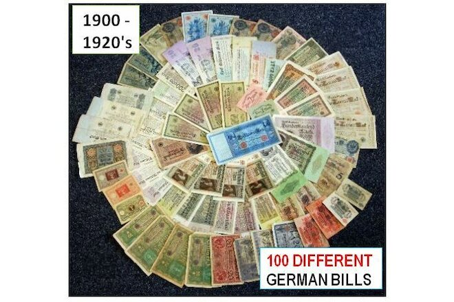 LOT 100 DIFF BETTER CIRC GERMAN BANKNOTES @ $1.49! LIMITED PROMO OFFER! CV $600+