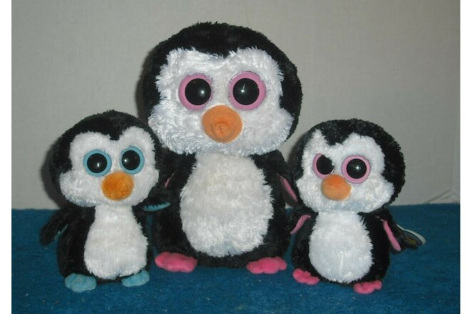 "TY Beanie Boos - 6"" Waddles the Penguin  6"" & 9"" retired Paddles the Penguin LOT"