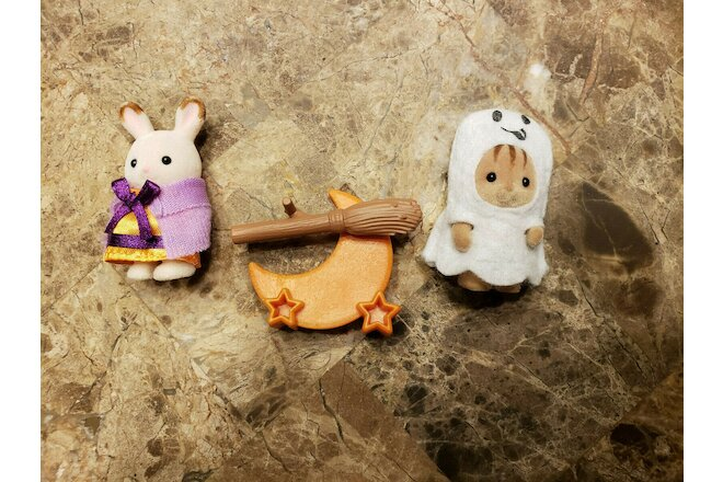Calico Critters Halloween Chipmunk Ghost & Rabbit Witch