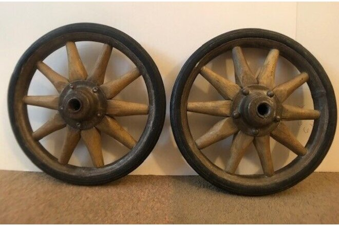 "Antique 2 of 8"" Wagon Wheels 1/2""diameter 10 spokes wood with rubber tire ""rare"""