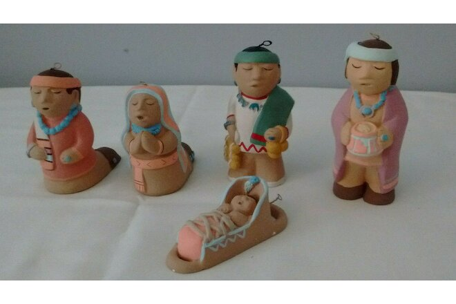 5 Figures Teissedre Pottery Christmas Nativity Ornaments