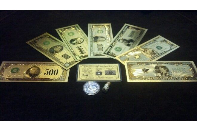 ~NEW~.999 GOLD$500-$1BILLION BANKNOTE REP.*SET+SILVER BAR&COIN/FLAKE~FREE SHIP