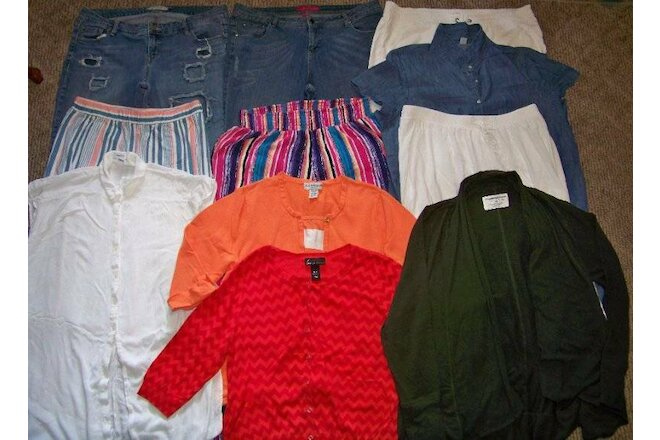 WOMENS Size 18-20W/2X CLOTHING LOT (11pc) JEANS/TOPS/PANTS/SKIRT/SWEATERS/DRESS