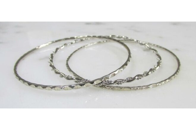 Lot of 3 Textured Sterling Silver Bangle Bracelets ~ 17.4g ~ 9-D649