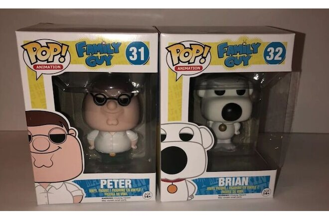 Funko Pop! Animation Family Guy Peter Griffin & Brian Vinyl  Figure Lot Vaulted