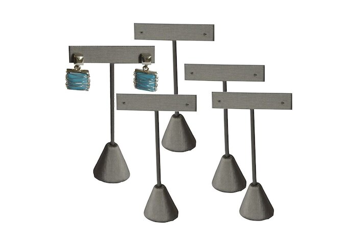 "5pc Earring Displays Earring Holders Grey Earring Tree Stands 5 3/4""High"