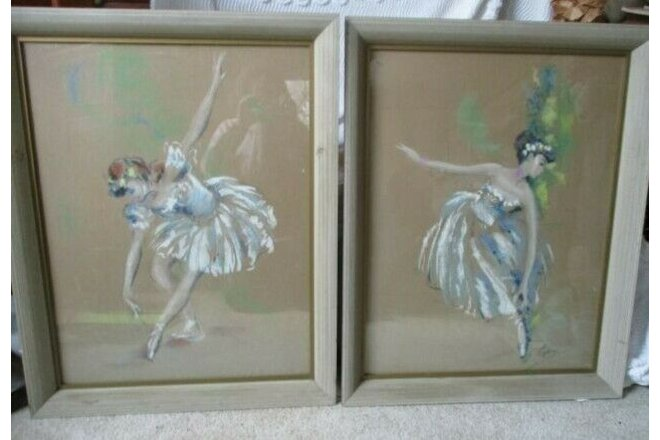 2 ~ LARGE 1950s CYDNEY GROSSMAN framed Hand Colored Lithograph Ballerina Dancers
