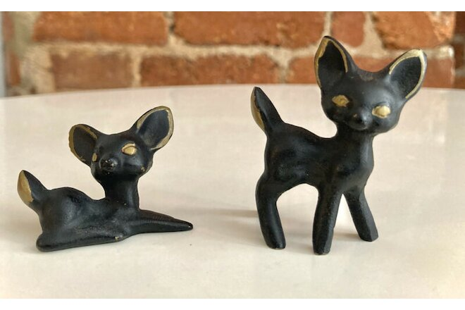 Vintage Cast Iron Small Black Cat Figurines - Whimsical! Bronze color detailing.