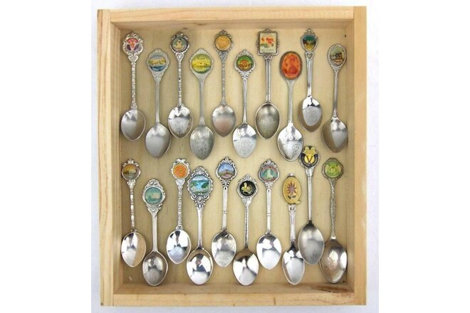 20 x Vintage Souvenir Spoons Bulk Lot with Timber Tray Worldwide Collection