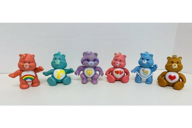Vintage Care Bears LOT OF 6 Bright Tender Love-a-Lot Cheer Wish Baby Tugs