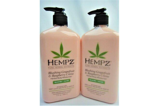 2 Hempz Blushing Grapefruit And Raspberry Creme Moisturizer Lotion 17oz Bottles