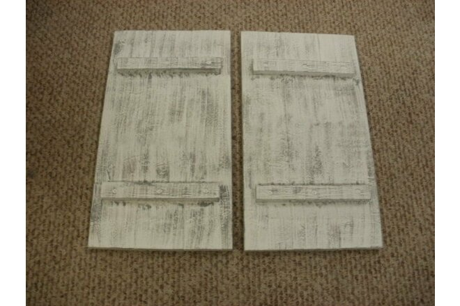 Lot of 2 White Weathered Look Shutter Primitive (Rustic) Wood