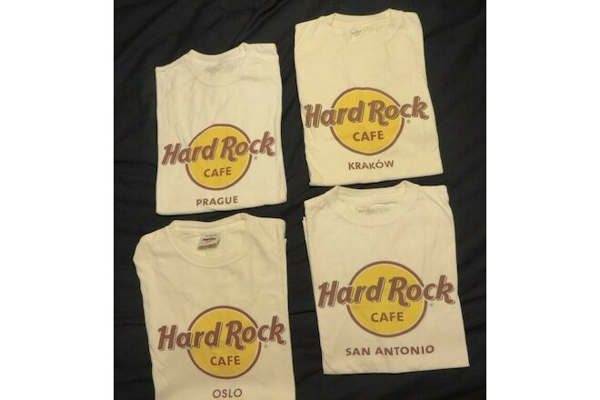 4 Hard Rock Cafe - Sz-M ~ Oslo - San Antonio - Prague - Krakow ~ Cotton T-Shirts