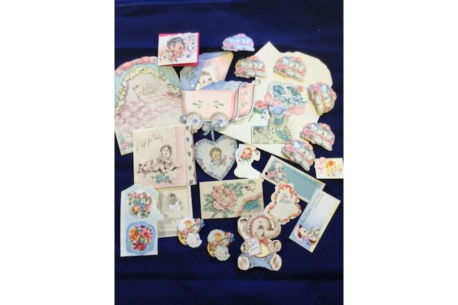 Vintage Baby Paper Stickers Tags Cards Ephemera 1940s