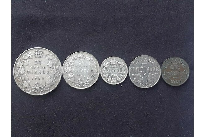 Canada 1932 complete set of coins