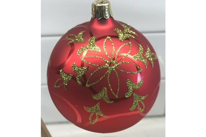 2 Red Glass Christmas Ornaments With Greenish Gold Glitter Floral Design 3""