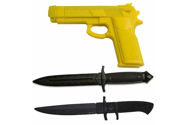 RUBBER PRACTICE  Dummy Gun & KNIFE Kit Training Costume Martial Arts Set