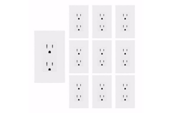 Outlet Decora Receptacle 15A TR with Screwless Wall Plate White 10 Pack