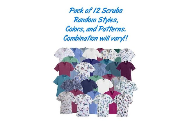Scrub Shirts, No Color, Pattern, Style Choice, May have Logos, 12/Pack