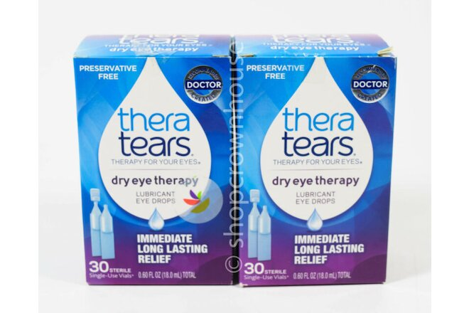 2 Thera Tears DRY EYE THERAPY drops 30 single-use =60 VIALS 11/2020 ~ OPEN BOX