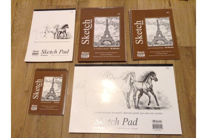"BAZIC Set of 5 Premium SKETCH BOOK Paper Pad 6"" x 8"",  12""x 18"" 8.5""x10"",9""x12"