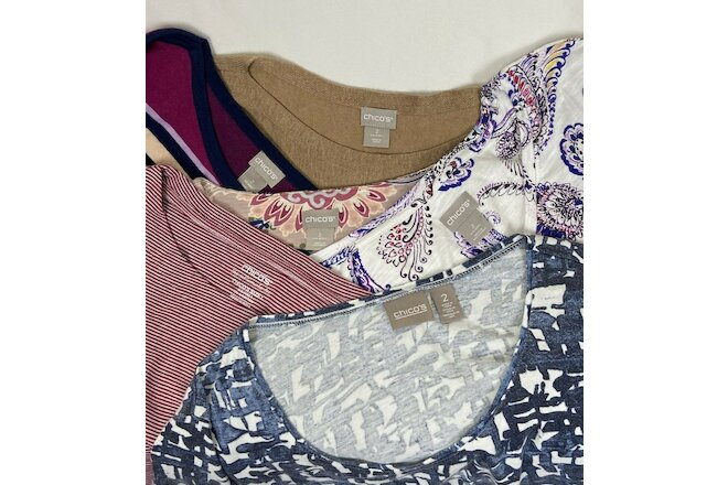 Chico's Women's Size 2 (12 Medium) Lot of 6 Mixed Casual Everyday Tops Blouses