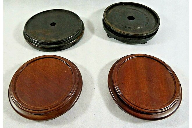"Lot of 4 Chinese Wood Stands from 3 1/4"" to 4"" Diameter Simple Base"