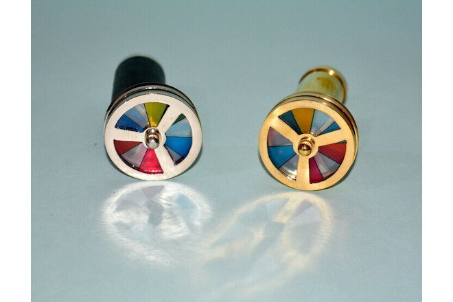"Lot of 2 pcs brass 4"" kaleidoscope mini double wheel style collectible good gift"