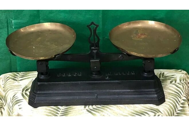 Antique 1900 IRON & BRASS Mercantile Kitchen Balance Scale French Force 10 Kilo