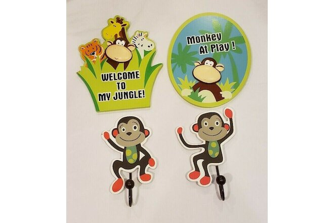Jungle Monkey Theme Kids Room Daycare Playroom Decor Wall Plaques and Hooks 4pcs