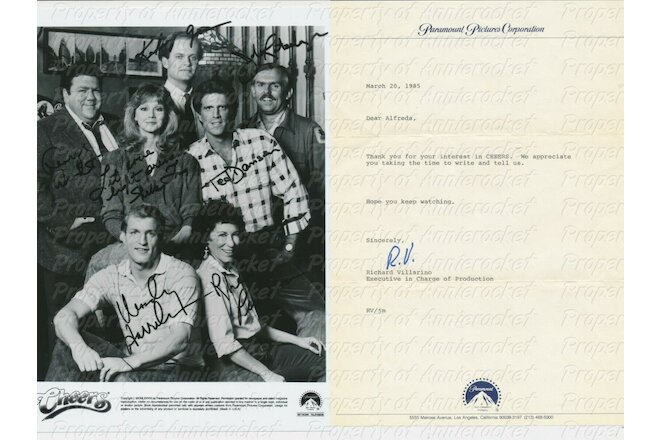 Cast of Cheers 8X10 B&W Photo Reprint Autographs+Paramount Letter-1985-#104
