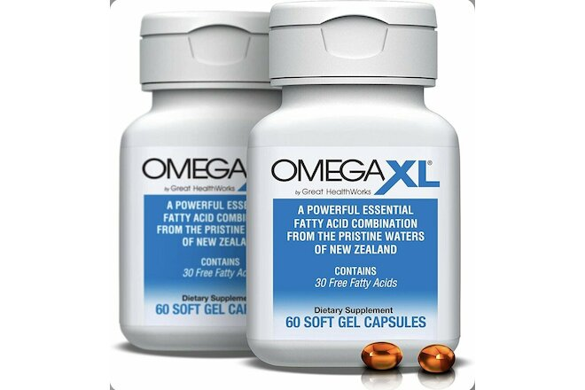 OmegaXL 60ct Great Healthworks + 2 Pack (60 Capsules + 60 Capsules)