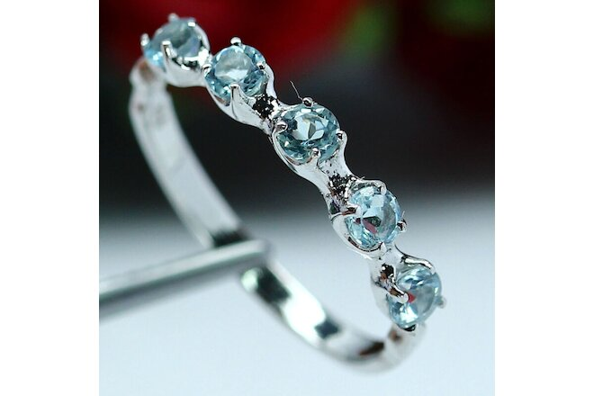 NATURAL VVS 3 mm. ROUND CUT SKY BLUE TOPAZ RING 925 STERLING SILVER
