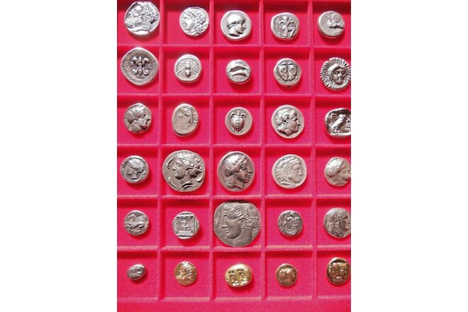 LOT OF 30 GREEK ASSORTED SILVER, GOLD PLATED ANCIENT COINS EDUCATIONAL GIFT XMAS