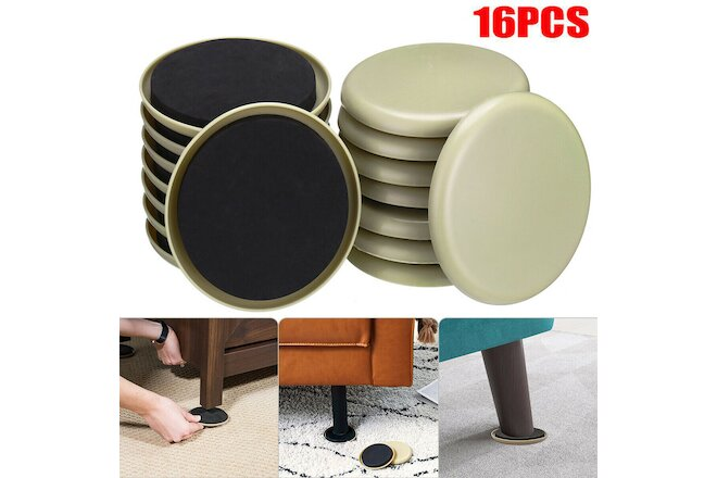"16-Pcs 3-1/2"" Round Carpet Furniture Sliders in Resealable Bag by Smart Surface"