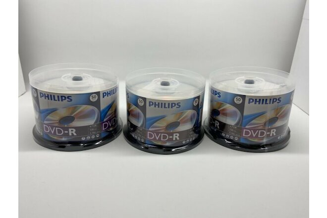 NEW & UNUSED - PHILIPS DVD-R 16x 4.7gb 120min Lot of 3 50pks (150 Total)