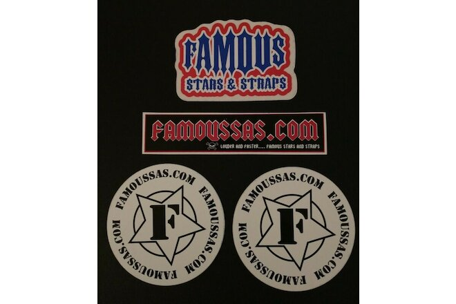 Lot Of 4 Famous Stars And Straps Stickers (Rare Travis Barker Famous SAS)