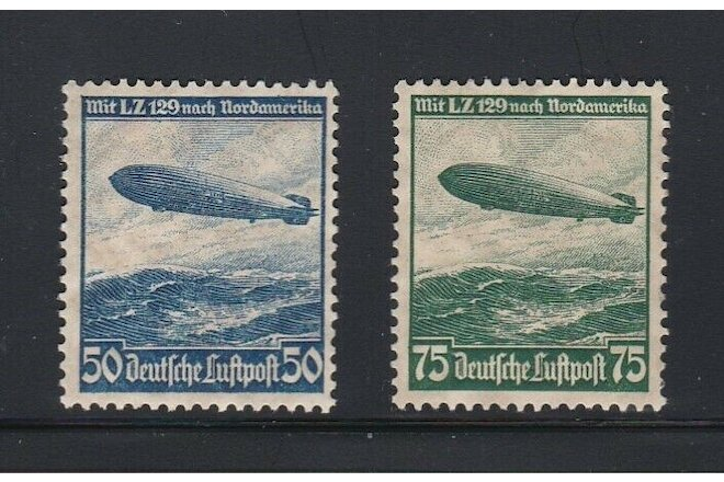 Set of Two 1936 German Air Mail Stamps Hindenberg Scott # C57, C58