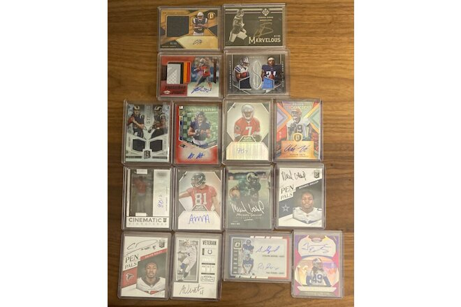NFL Stars Rookie Jersey/Auto Lot Of 16