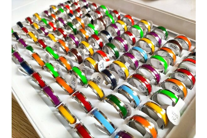 Wholesale 100pcs Bulk lots Colorful Enamel 7mm Stainless Steel Men Women Rings