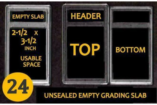24 EMPTY PROFESSIONAL Unsealed Graded Card Slabs HOLDER for GRADING NEW