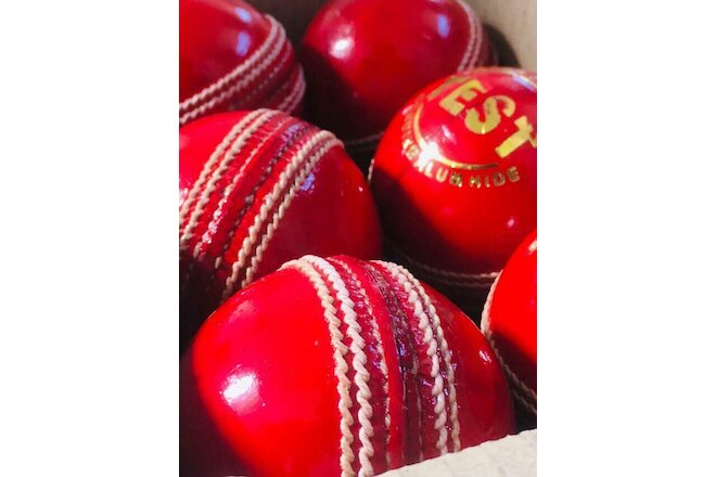 HALLOWEEN Leather Sports Cricket Test Ball 4 Part Hand 5.5 oz 0.33 lbs T-20 6pcs