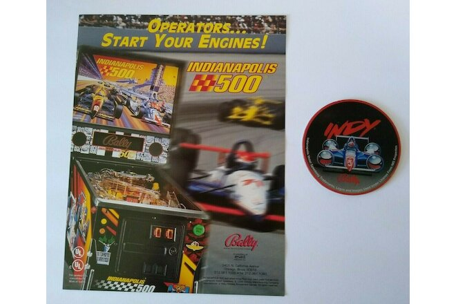 Williams Indianapolis 500 Pinball FLYER And NOS Plastic Promo Indy Racing NOS