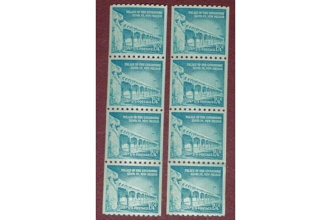 US 1 1/4-cent~PALACE of the GOVERNORS~TWO Coil strips of FOUR~Scott #1054A?~1960
