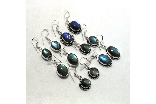 A+ Labradorite Gemstone 5 pair Wholesale Lot 925 Sterling Silver Plated Earrings