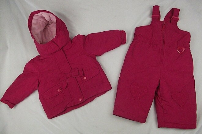 Pink Ski Bib/Pants & Hooded Jacket 2-Piece Set Baby/Toddler Girls SZ 12 Months